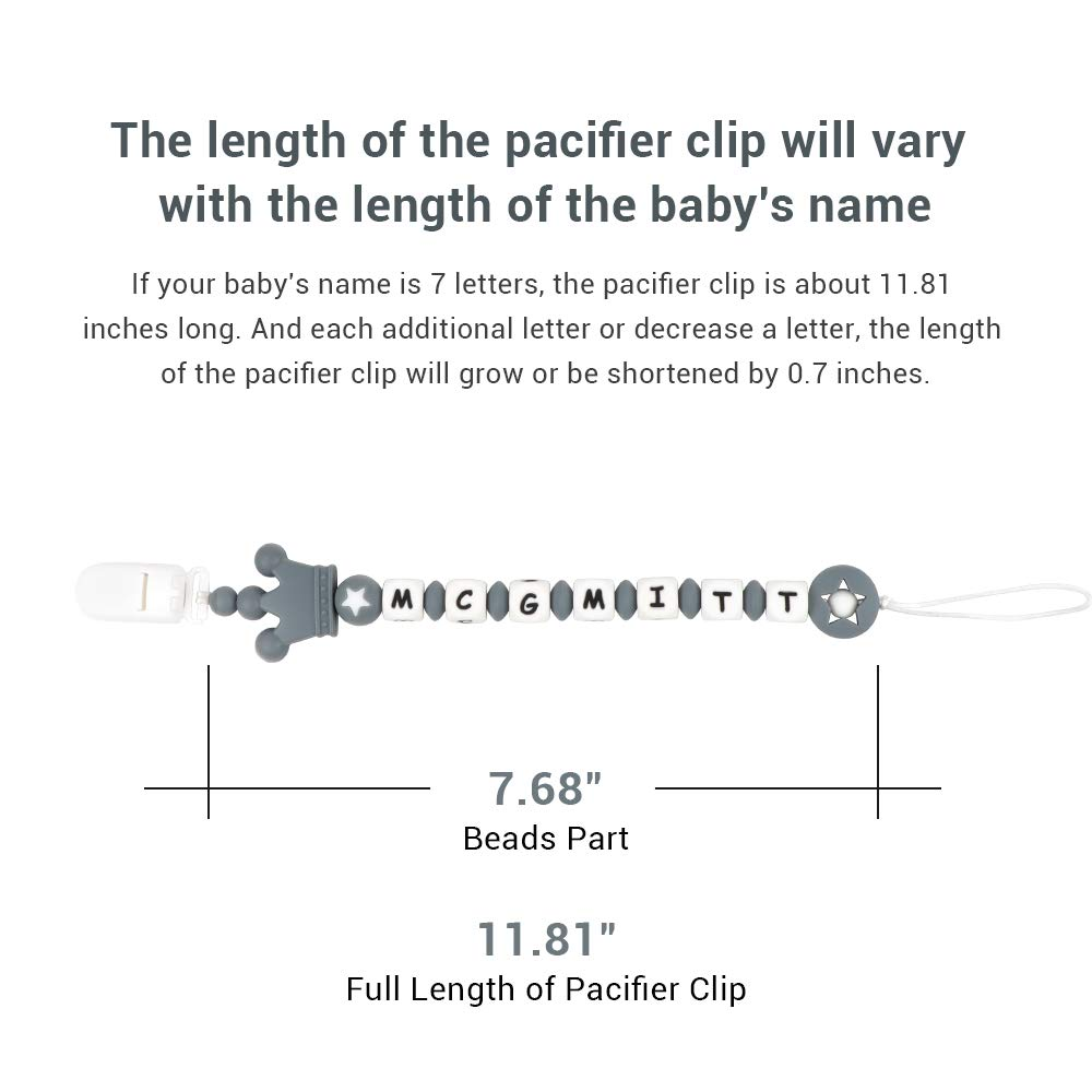 Infant Pacifier Clip Customize Name, MCGMITT Handmade Food Grade Silicone Teething Beads Chain...