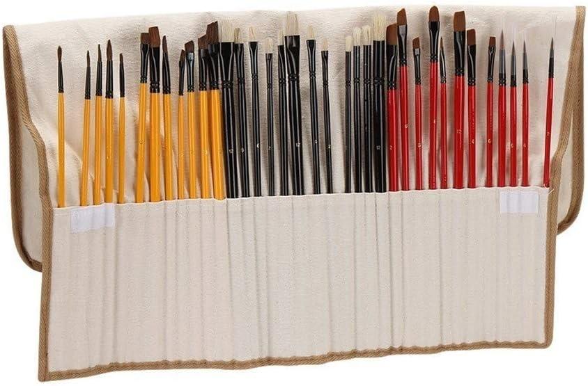 Edmend 36pcs De La Pintura del Cepillo del Sistema Pinceles Starter Kit Incluye Taklon/Cerda/Caballo Cepillos Pintando encierra el Uso de Pintura de Varios Colo
