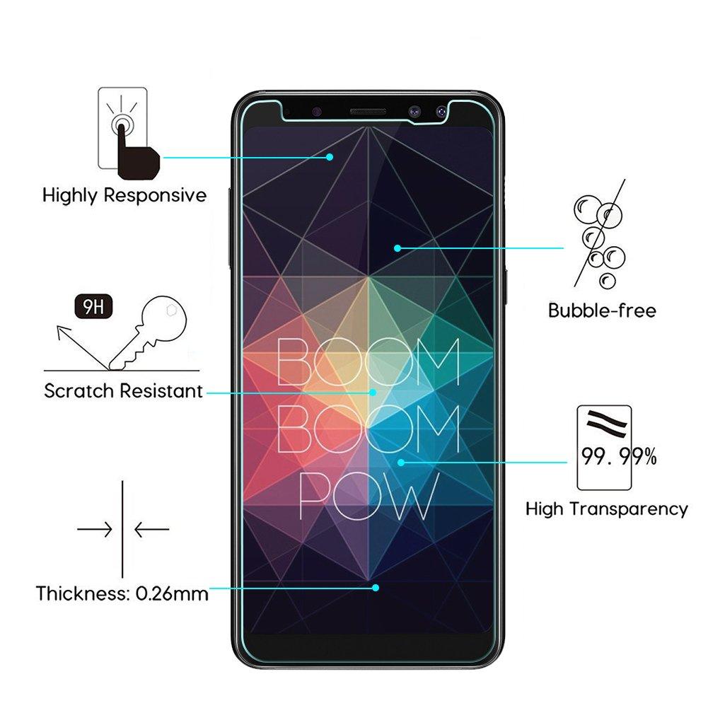 Woocika Protector Pantalla Samsung Galaxy A8 2018 [2-Unidades] Cristal Templado para A8 2018, 3D Cobertura Completa Perfecto 9H Alta Definicion sin ...