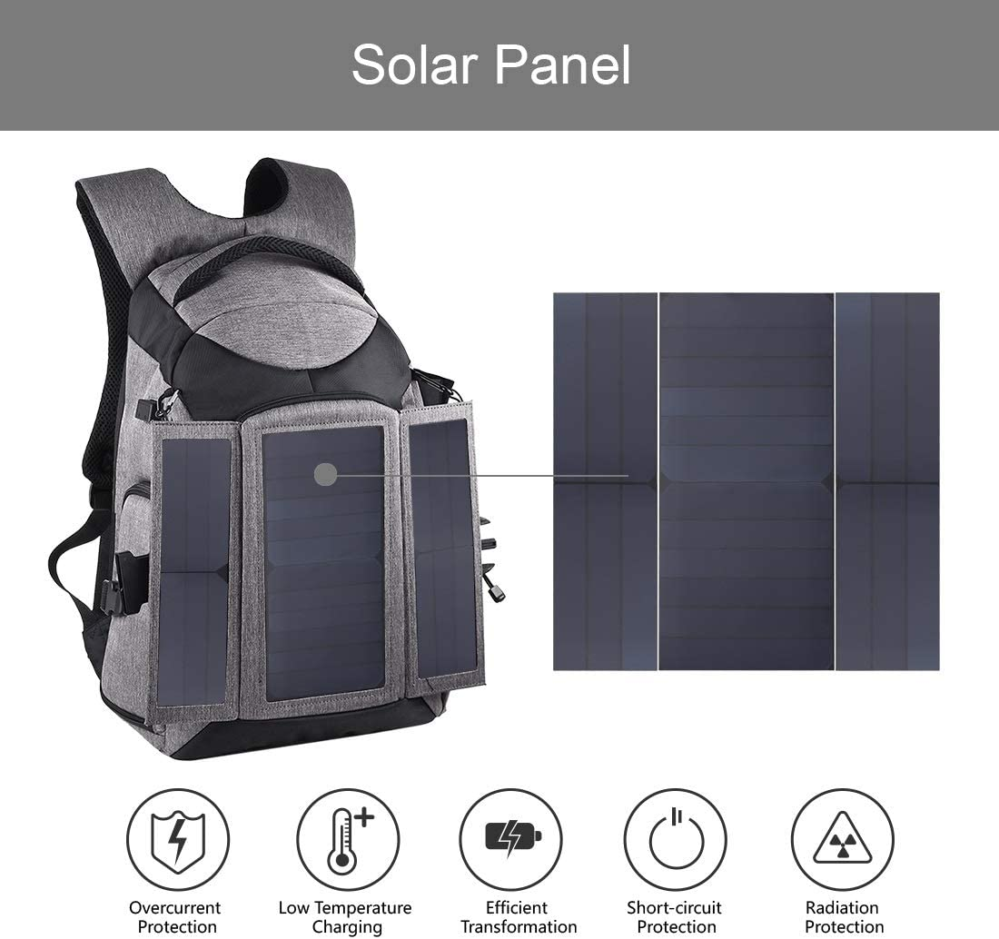 Color : Grey, Size : One Size Grey Durable 3-Fold 14W Solar Power Outdoor Portable Dual Shoulders Backpack Camera Bag with USB Port /& Earphone Hole