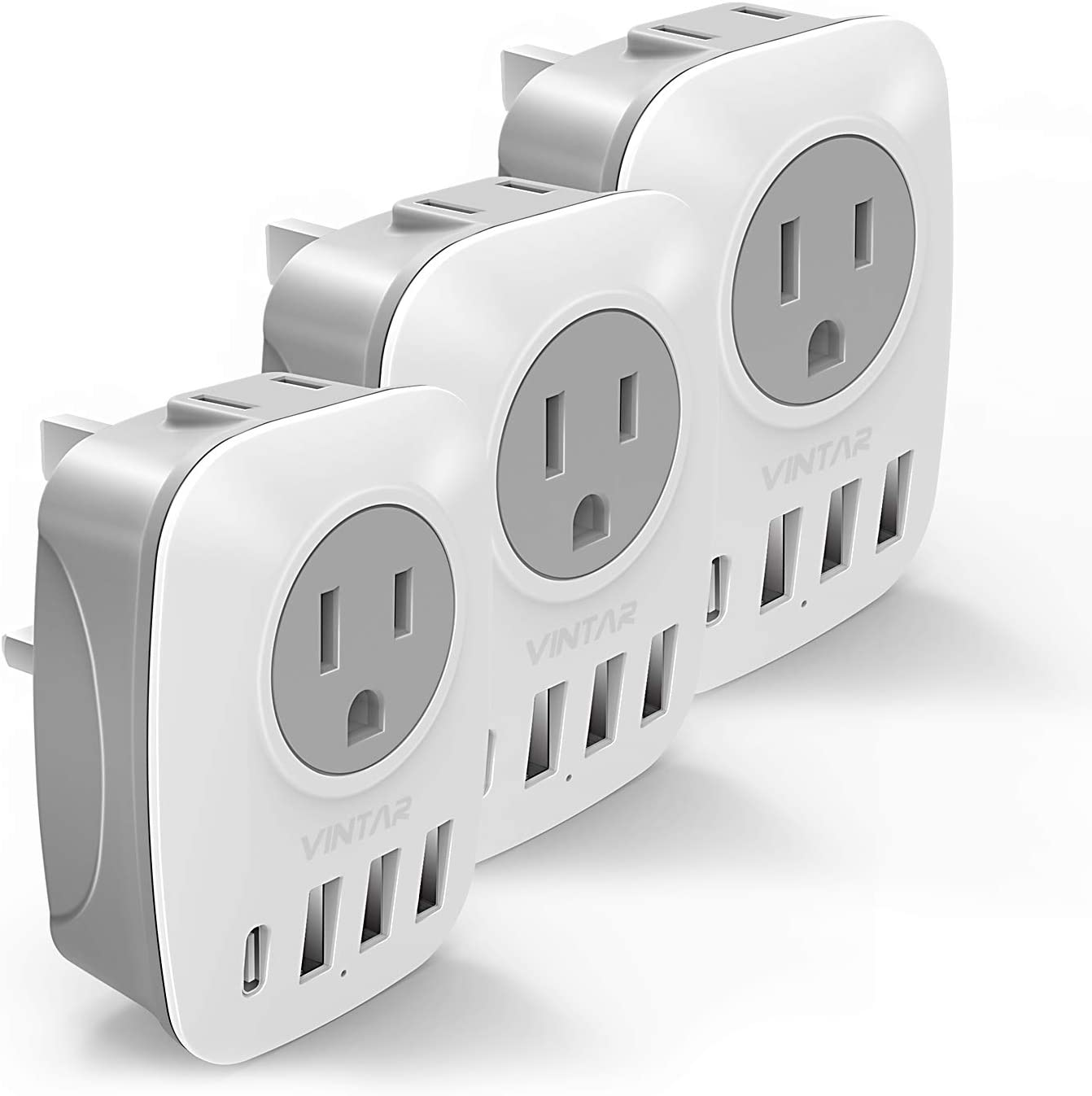 [3-Pack] UK Ireland Travel Plug Adapter, VINTAR International Power Adaptor with 1USB C Compatible with iPhone 12/12 Pro / 12Pro Max, 2American Outlets and 3USB Ports, 6 in 1 Type G Plug Adapter