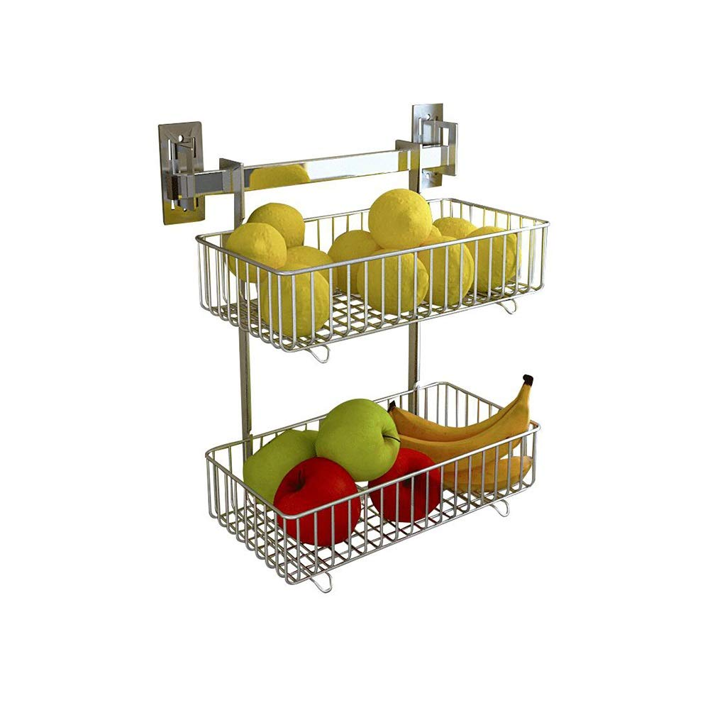 Bookcases Kitchen Rack Drain Basket Rack Wall Hanging Punch-Free Fruit and Vegetable Basket Storage Rack Multi-Function Storage Shelf Yixin (Color : A, Size : 33.618.537.5cm)