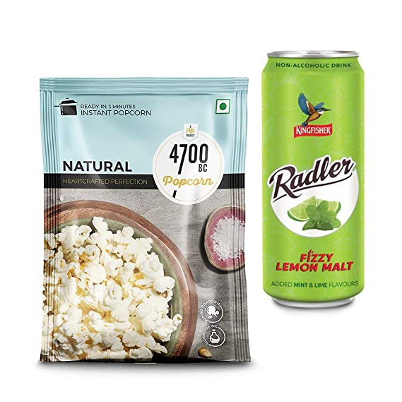 [Pantry] 4700BC Instant Popcorn, Natural, 90g, with Free Radler Mint Lime CAN, 300 ml