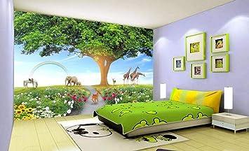 Pegatinas Obras de arte Vida Árbol Cuidado Medio ambiente Mundo Animal Habitación de los niños Jardín Pared- (430cmx300cm): Amazon.es: Bricolaje y herramientas
