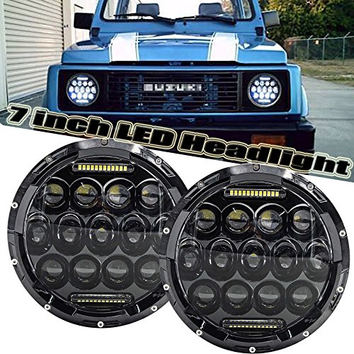 Headlamp 7' Conversion Round (Pair 7'' Headlights For Suzuki Samurai / Suzuki SJ410 With Factory 2 Round Sealed Beam Headlamp, H6024 H5024 H6012 H6014 H6015 H6017 LED High Beam / Low Beam / DRL Conversion Kit)