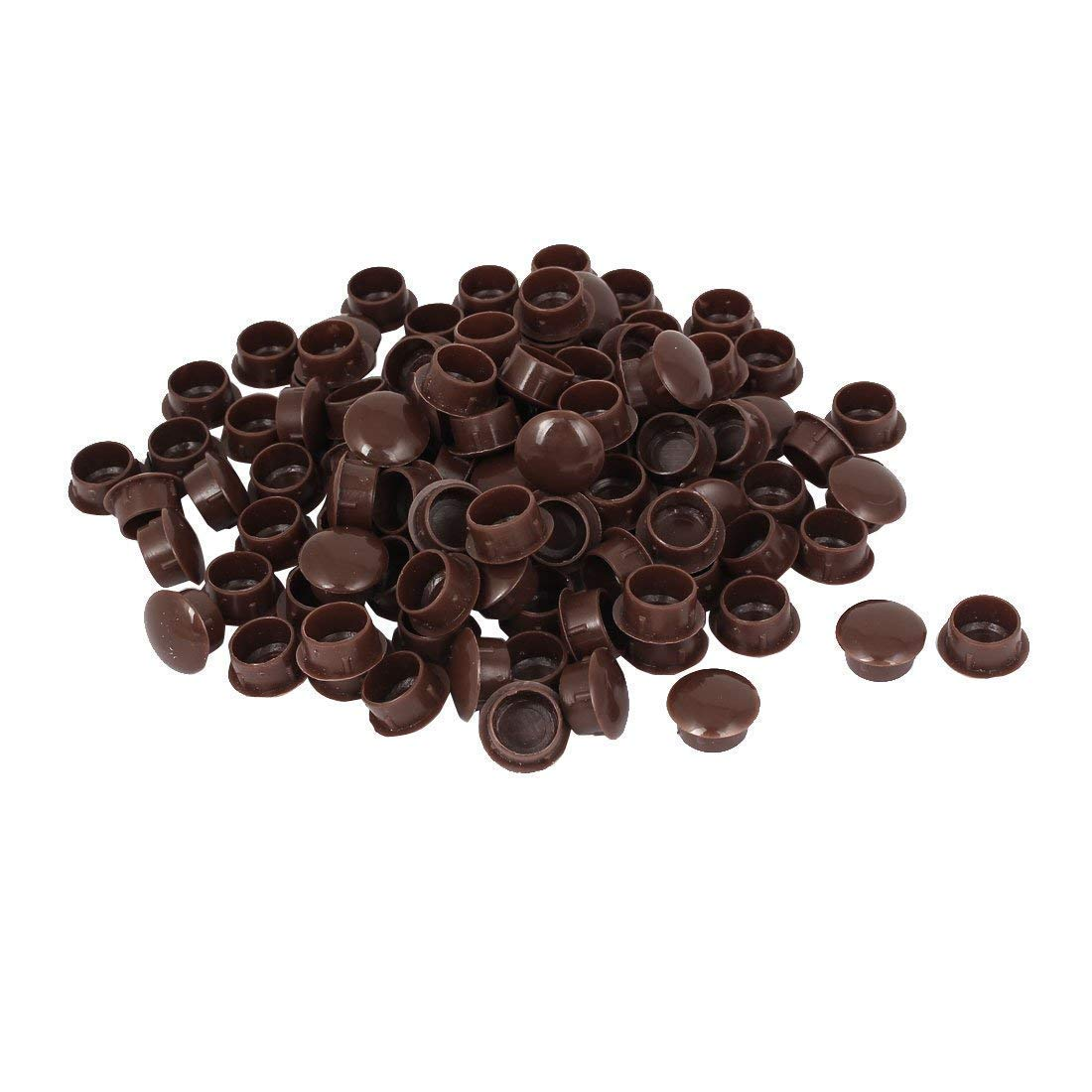 15mm Diameter Hole Brown Plastic Press On Furniture Screw Cap Covers 100 Pcs