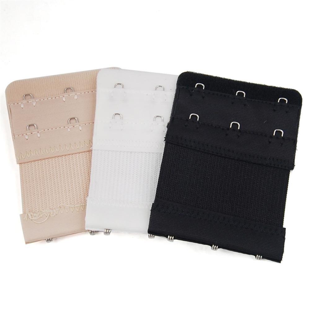 Popamazing Pack of 3 Soft 2x3 Hooks Bra Back Extenders Black, Nude, White PP-Bra-OP02