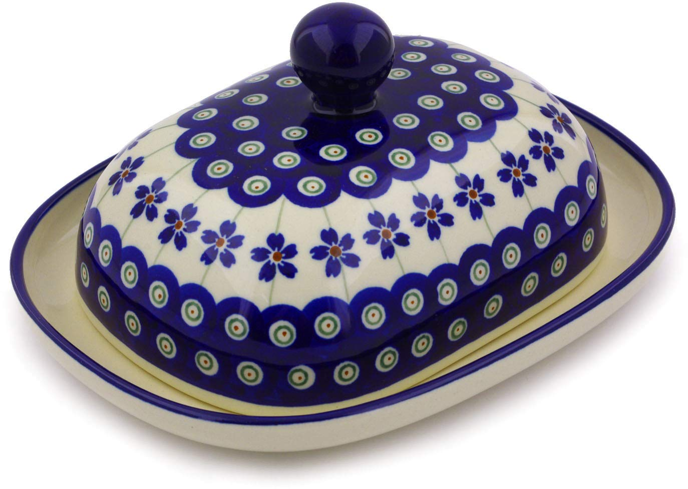 Polish Pottery Butter Dish 8-inch Flowering Peacock