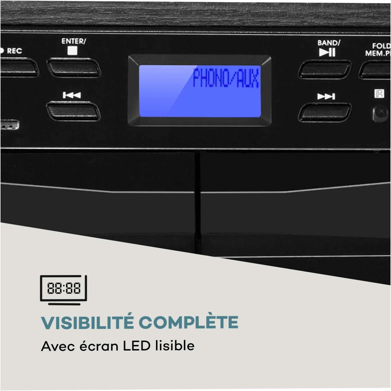 AUNA 388-DAB + Fonction BT Cha/îne compacte 2 platines Cassette Tuner Radio FM//Dab+ 2 Enceintes Platine Vinyle Noir Charbon Lecteur CD avec Fonction MP3 USB et SD Fonction dencodage