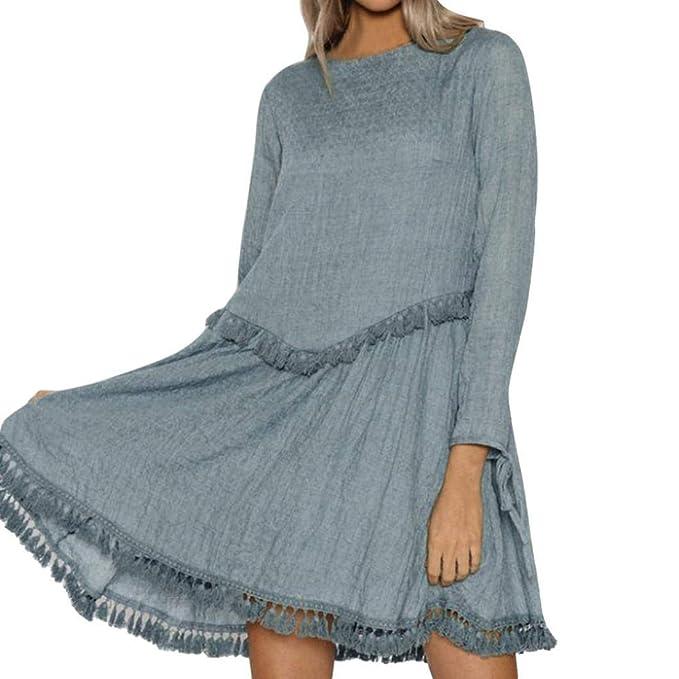 POLP Vestidos Cortos Mujer ◉ω◉ Falda de Flecos, Ropa otoño Mujer, Vestidos otoño, Ropa otoño Mujer 2018, Vestido Manga Larga Mujer, Sexy Dress, ...