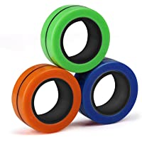Magnetic Ring Toy, Stress Relief Magnetic Ring Toys 3Pcs for Kids and Adults, Magnetic-Ring Fidget Finger Magnetic Ring…