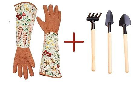 Ayawei Womenu0027s Gardening Gloves Thorn Proof Pruning Gloves With Long  Polyester Print Cuff (orange)
