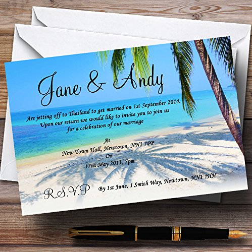 Tropical Beach Palm Tree Personalized Evening Reception Invitations