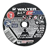 "Walter Zip Performance Cutting and Grinding Cutoff Wheel, Type 1, Round Hole, Aluminum Oxide, 3"" Diameter, 1/32"" Thick, 3/8"" Arbor, Grit A-60-Zip (Pack of 25)"