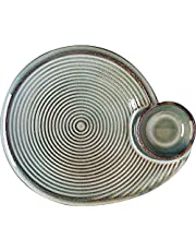 YASE-king Shaped ceramic grid plate dumplings snack plate Western pasta dish vintage irregular cold dish plate