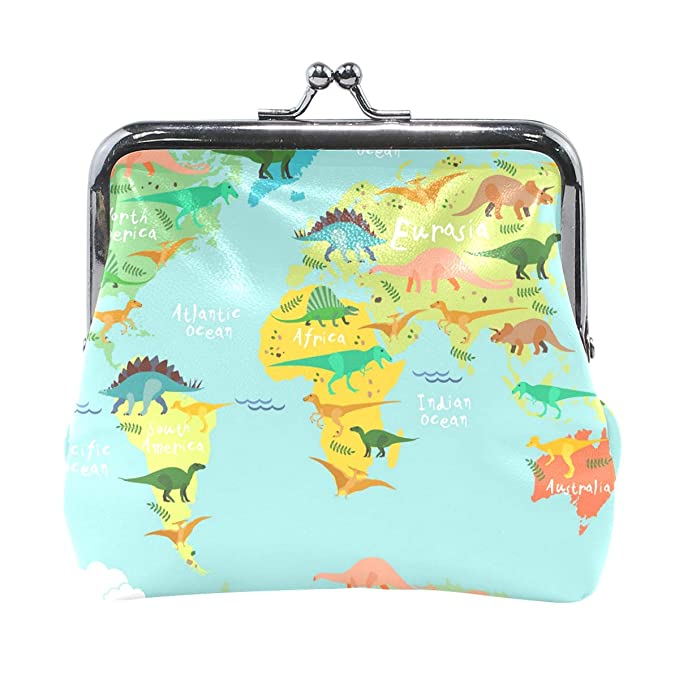 Dinosaur World Map Wallet Coin Purses Vintage Pouch Fashion PU ... on