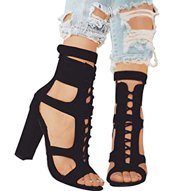 LALA IKAI Roman Shoes Summer Women Pumps Lace-Up Strap Hole Hollow Stiletto Square High Heel Shoes Woman Sandals XWC1020-5