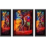 SAF UV Textured Ganesh Ji Print Painting Set of 3 for Home Decoration (Synthetic, 28.5 inch x 19.5 inch, Set of 3)