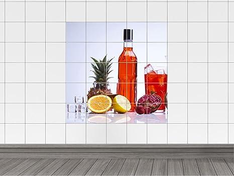 Piastrelle adesivo piastrelle immagine cocktail con ananas fragola e
