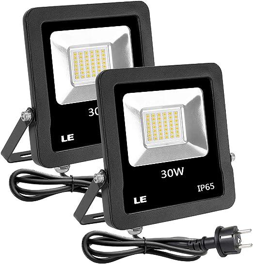 LE Foco LED 30W Blanco Cálido 2400lm, Resistente al Agua IP65 ...