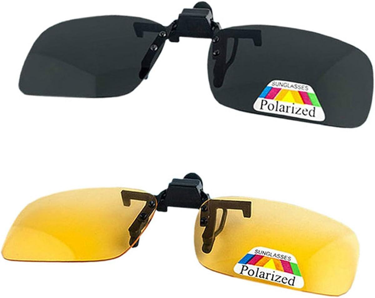 Gafas de sol con clip en la lente polarizada Flip Up, Gafas de sol unisex Sin marco con clip en gafas de sol con receta Filtro de gafas Luz fuerte para anteojos de miopía 2-Pack