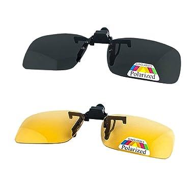 2 paires de lunettes de soleil neutres clip nuit vision polariseur anti-éblouissement UV400 conduite protectrice Parker tir ski sports de plein air nuit vision lunettes hommes et femmes UCjpv