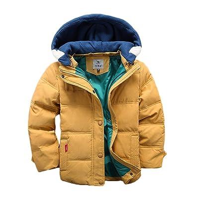 Kids Boys Warm Jacket Winter Coats Hooded Detachable Thick Parka Cotton Coat UK