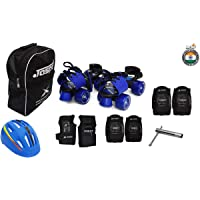 Jaspo Tenacity Blue Pro Adjustable Senior Roller Skates Combo Suitable for Age Group 6 to 14 Years (Skates+ Helmet + Knee Guard+ Elbow Guard +Wrist Guard+ Bag+Key)