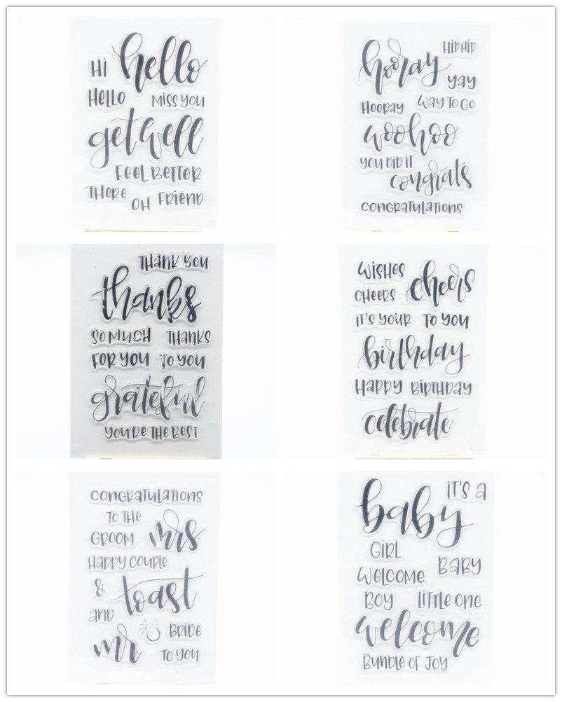 WooYangFun Joyful Home 6pcs/set Sentiments timbro in gomma trasparente per biglietti, decorazioni e scrapbooking WYF