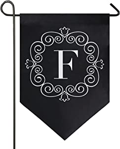 Oarencol Classic Monogram F Letter Garden Flag Double Sided Home Yard Decor Banner Outdoor 12.5 x 18 Inch