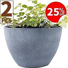 Flower Pot Garden Planters 12u0026quot; Pack 2 Outdoor Indoor, Unbreakable  Resin Plant Containers With