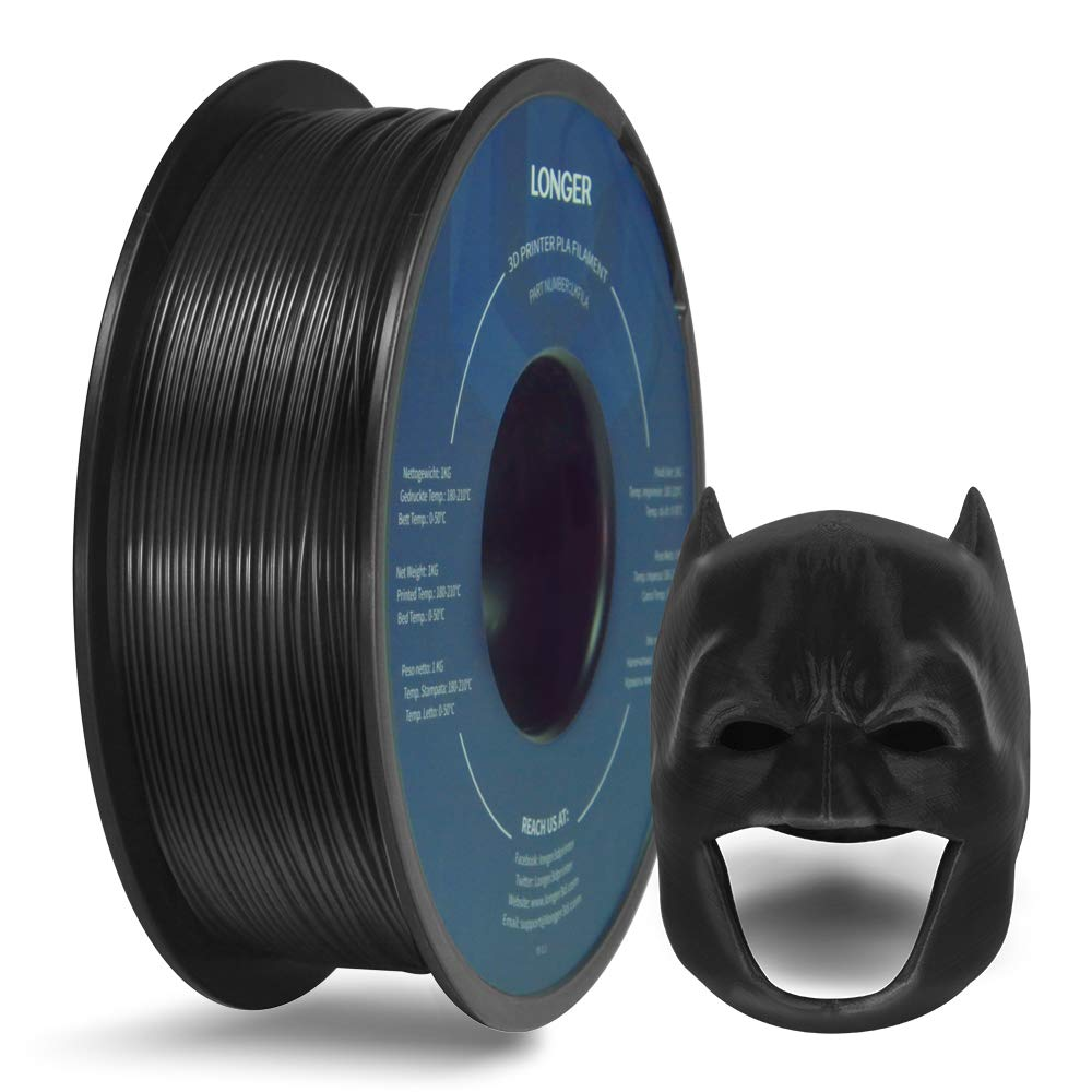 LONGER PLA 3D Printer Filament 1.75mm, Dimensional Accuracy +/- 0.02 mm, No Tangle, Eco-Friendly, Widely Compatibility (Black, 1KG)