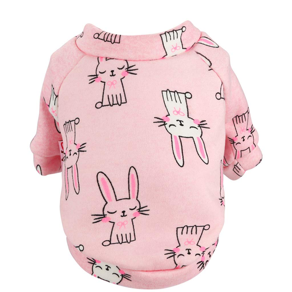 X-Small CXQ Small Dog Clothes Puppies Cute Cartoon Pink Bunny Autumn and Winter Pet Clothes Supplies (Size   XS)