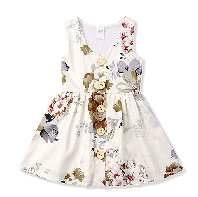 d70f371478ea5 Toddler Baby Girl Dress Princess Floral Skirt Sleeveless Button Party  Formal Dresses Girls Summer Clothes