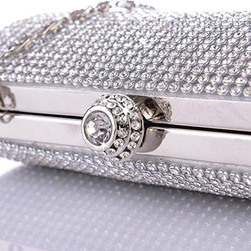 sallyshiny Damen Luxus-Full Strass Kristall Handtasche Abend Clutch Shell Box Party Ball Hochzeit Staubbeutel