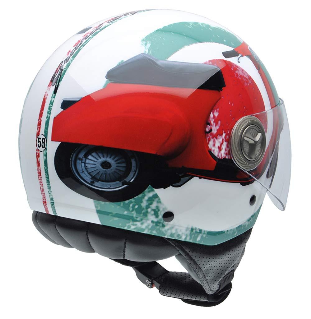 White//Blue//Red British Flag Detail NZI 490004G332 3D Vintage II Union Jack Open Face Motorcycle Helmet XL