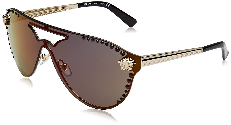21972fe6ff Versace GLAM MEDUSA VE 2161B PALE GOLD DARK GREY RED women Sunglasses   Amazon.com.au  Fashion