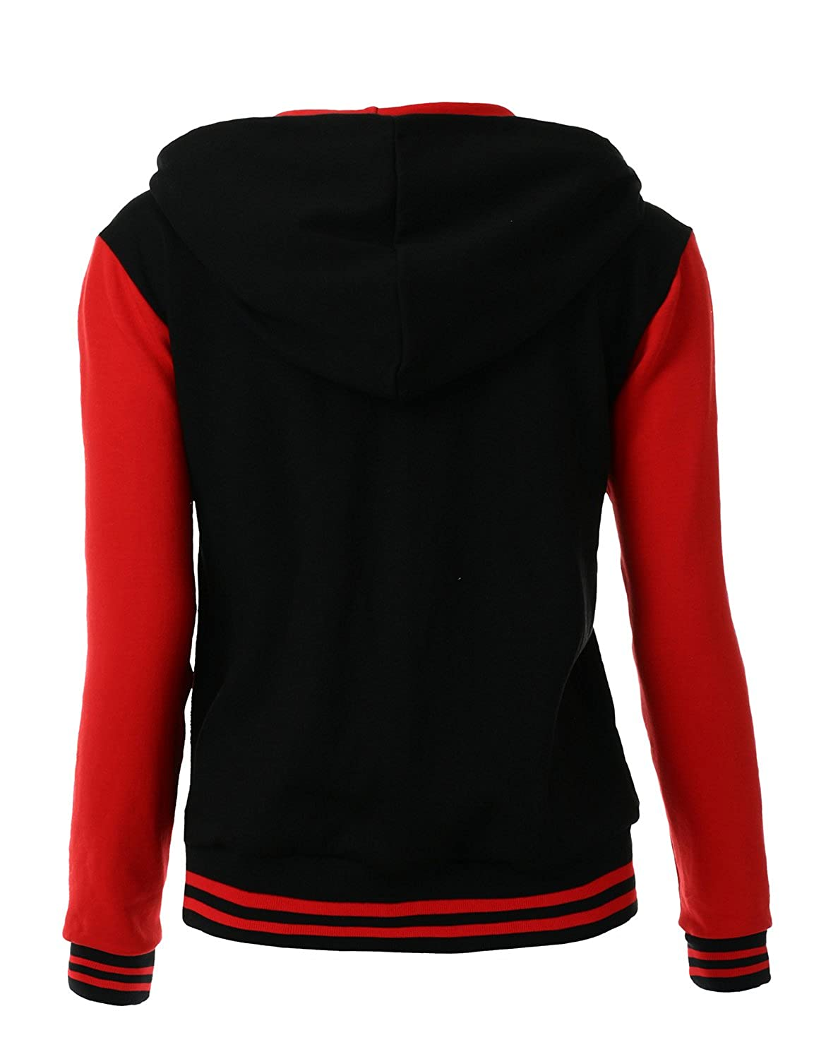 Xpril Womens Stylish Color Contrast Long Sleeves Hoodie Varsity Jacket