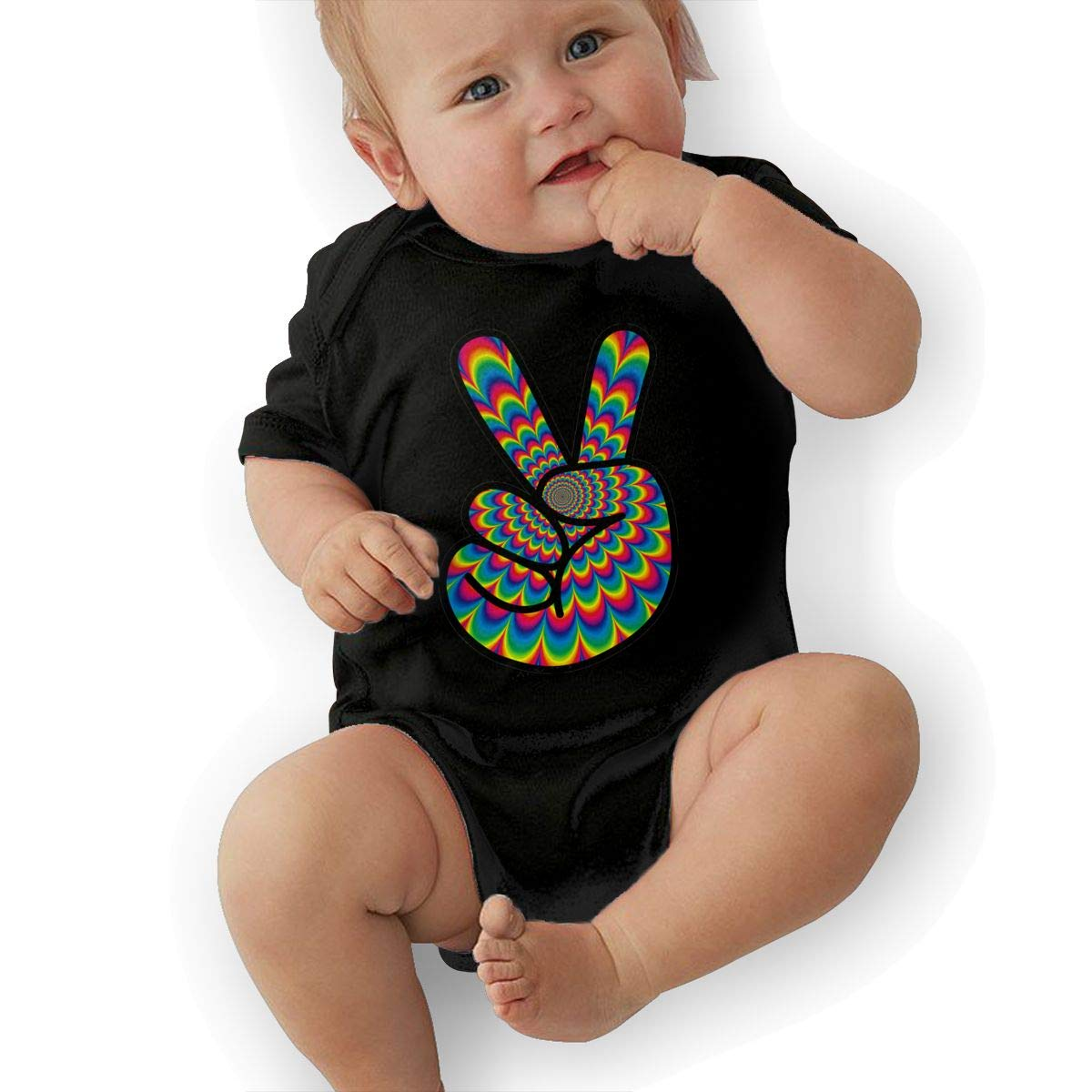 Cute Psychedelic Peace Hippie Playsuit U88oi-8 Short Sleeve Cotton Bodysuit for Baby Girls Boys