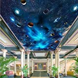 LHDLily 3D Hd Outer Space Floor Tile Painting Mural Corridor Lobby Lounge Bedroom Water-Proof Floor Sticker 300cmX200cm