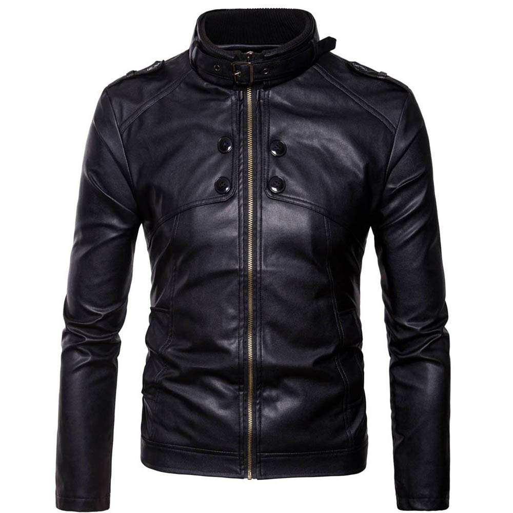 GREFER Men's Full Zip Casual Motorcycle Stand Faux Leather Jacket Winter Warm