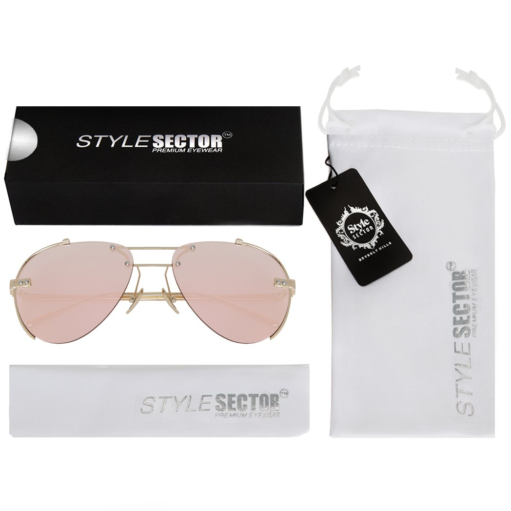 91d960215352 Amazon.com  WIRE-FRAMED MIRROR AVIATOR SUNGLASSES IN PINK-TONE WITH A BROW  BAR  Clothing