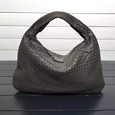 46266c8fdf Amazon.com  ISHARES Handbags Sheepskin Woven fashion bags Brand Genuine  Leather Handmade Zipper Shoulder Bags Large Capacity Totes IS115653 Color  Steel ...