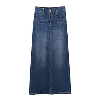 East Castle Women's High Waist Denim Skirt W-299 at Amazon Women's ...