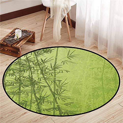 (Bedroom Round Rugs,Exotic,Tropical Forest Rainforest Jungle Paradise Ecology Feng Shui Spa,Children Bedroom Rugs,3'7