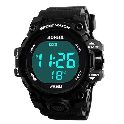 Deporte Muñeca Relojes Digitales LED Tecnología para Niños hombre estudiante pulsera impermeable alarma (Negro): Amazon.es: Relojes