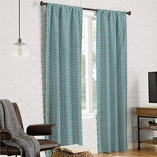 Polyester Microfiber Doorway Curtain Gardening,Blossoms of Blue Forget-Me-Not Flowers with Tiny Buds on Side,Pale Blue Teal Dark Magenta W120 x L84 Inch (Mario Don T Forget To Wash Your)