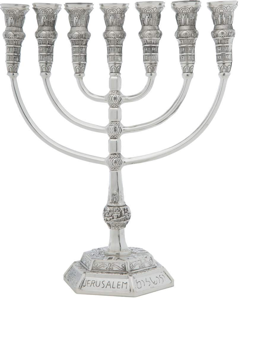 Yaliland Menorah Jerusalem Temple 14 Inch Height 35 cm 7 Branches Silver Plated XL by Yaliland (Image #4)