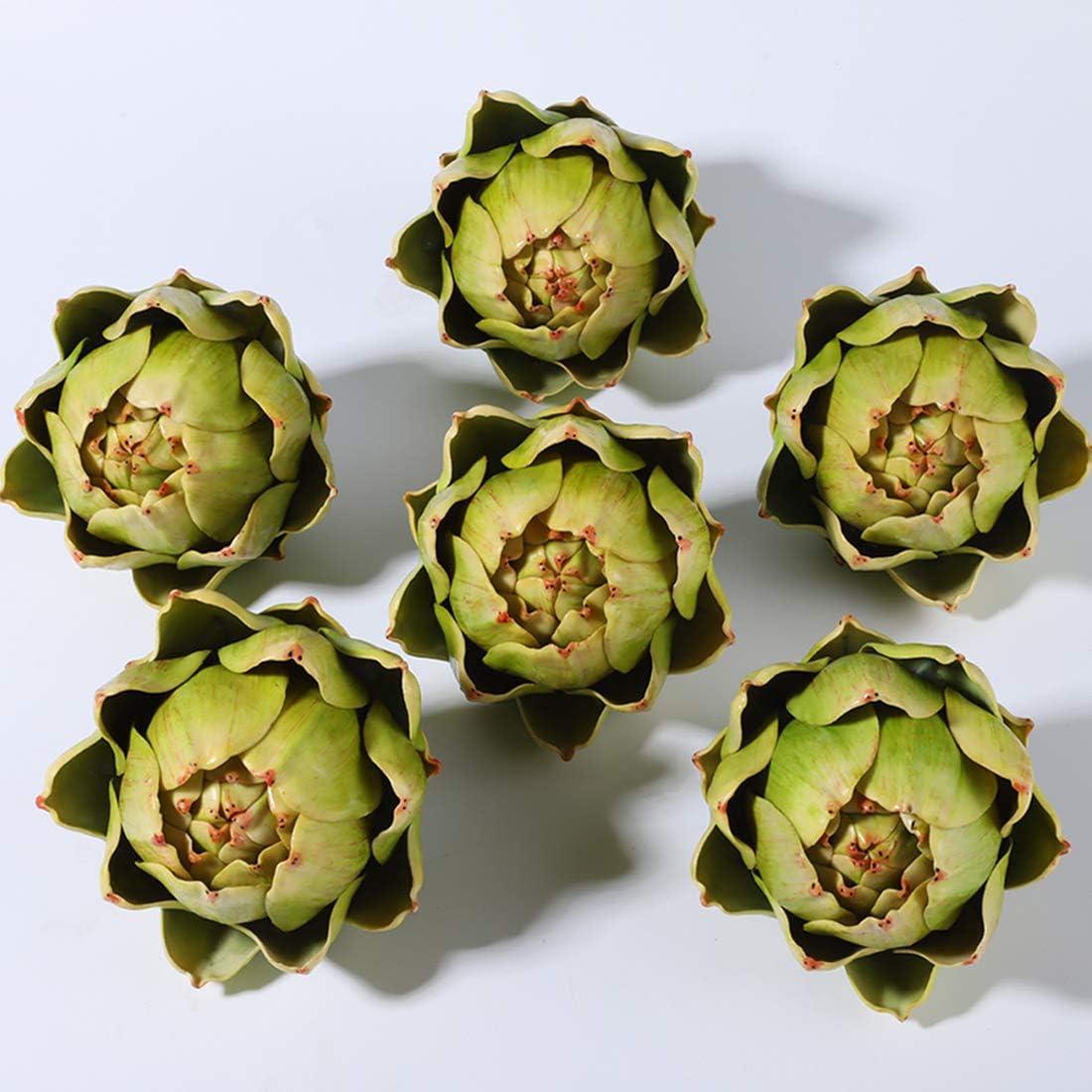 Large Green Artificial Artichoke Vegetables for Home Decor(6pcs)