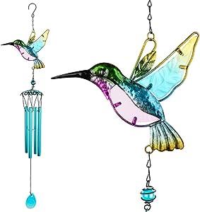 Glass Hummingbird Wind Chimes, Outdoor Windchimes Indoor Stained Glass Wind Chime Metal Hummingbird Suncatcher for Window, Home, Garden, Yard, Patio, Lawn Decoration (Hummingbird Blue Tube)